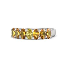 Oval Yellow Sapphire Sterling Silver Ring with Citrine