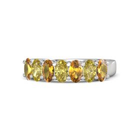 Oval Yellow Sapphire Sterling Silver Ring with Citrine and Yellow Sapphire
