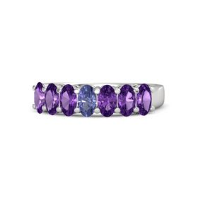 Oval Tanzanite Sterling Silver Ring with Amethyst