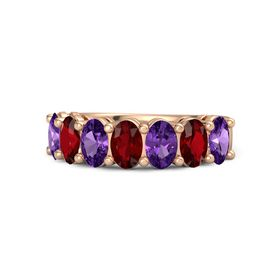 14K Rose Gold Ring with Amethyst & Ruby