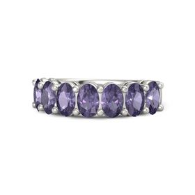 14K White Gold Ring with Iolite