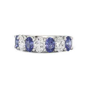 14K White Gold Ring with Tanzanite & White Sapphire