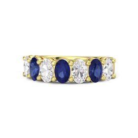 14K Yellow Gold Ring with White Sapphire and Blue Sapphire