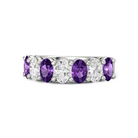 18K White Gold Ring with Amethyst and White Sapphire