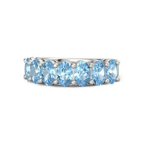 Palladium Ring with Blue Topaz