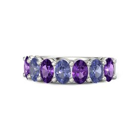 Platinum Ring with Amethyst & Tanzanite