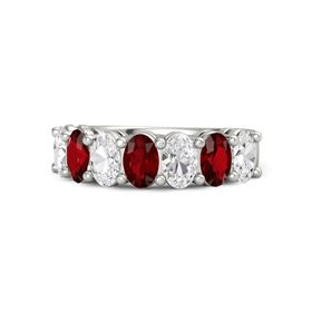 Platinum Ring with White Sapphire and Ruby