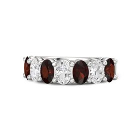 Sterling Silver Ring with Red Garnet & White Sapphire