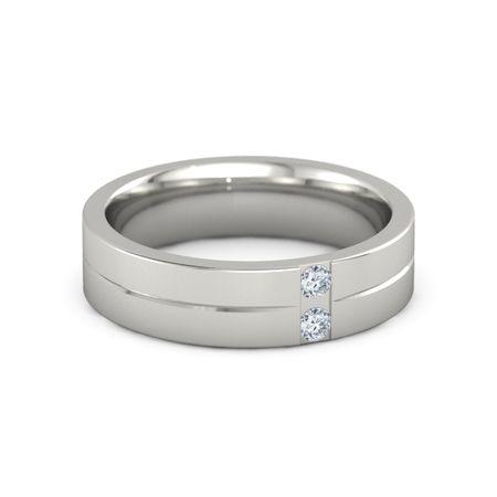 Men s 14K White Gold Ring with Diamond