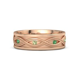 Men's 14K Rose Gold Ring with Emerald & Peridot