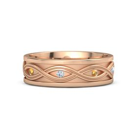 Men's 14K Rose Gold Ring with Citrine & Diamond