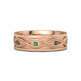 Men's 14K Rose Gold Ring with Green Tourmaline & Emerald
