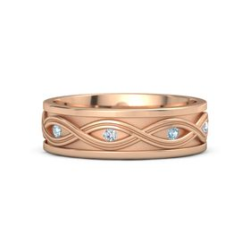 Men's 14K Rose Gold Ring with Aquamarine & Diamond