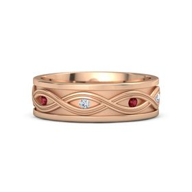Men's 14K Rose Gold Ring with Ruby & Diamond