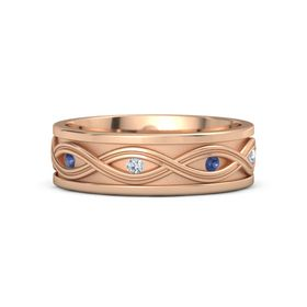 Men's 14K Rose Gold Ring with Sapphire & Diamond