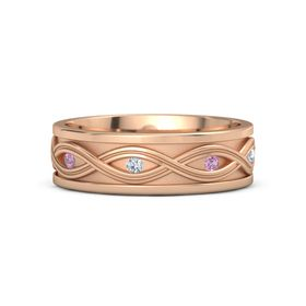 Men's 14K Rose Gold Ring with Pink Tourmaline & Diamond