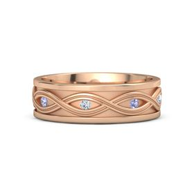 Men's 14K Rose Gold Ring with Tanzanite & Diamond