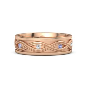 Men's 14K Rose Gold Ring with Tanzanite & White Sapphire