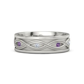 Men's 14K White Gold Ring with Amethyst & Diamond