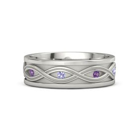 Men's 14K White Gold Ring with Amethyst & Tanzanite