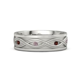 14K White Gold Ring with Red Garnet and Rhodolite Garnet