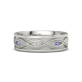 Men's 14K White Gold Ring with Iolite & White Sapphire