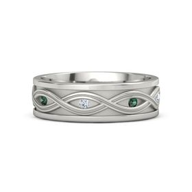 Men's 14K White Gold Ring with Alexandrite & Diamond