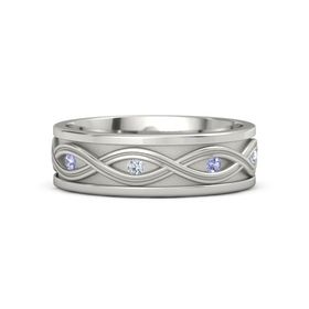 Men's 14K White Gold Ring with Tanzanite & Diamond