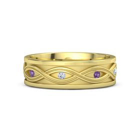Men's 14K Yellow Gold Ring with Amethyst & Diamond