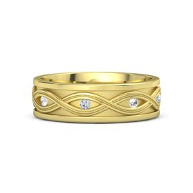Men's 14K Yellow Gold Ring with Rock Crystal & Diamond