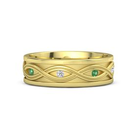 Men's 14K Yellow Gold Ring with Emerald & White Sapphire