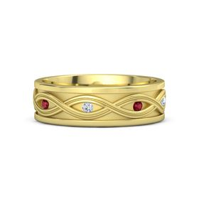 14K Yellow Gold Ring with Ruby and Diamond