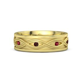 14K Yellow Gold Ring with Ruby and Red Garnet