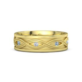 Men's 14K Yellow Gold Ring with Blue Topaz & Diamond