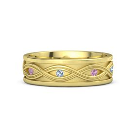 Men's 14K Yellow Gold Ring with Pink Tourmaline & Blue Topaz