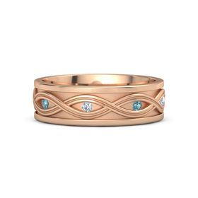 18K Rose Gold Ring with London Blue Topaz and Diamond