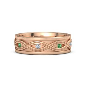 Men's 18K Rose Gold Ring with Emerald & Diamond