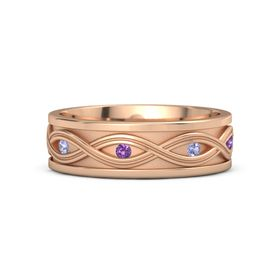 18K Rose Gold Ring with Tanzanite and Amethyst