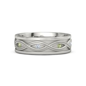Men's 18K White Gold Ring with Peridot & Diamond