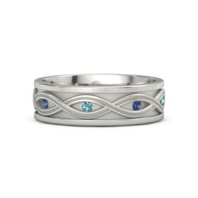 18K White Gold Ring with Blue Sapphire and London Blue Topaz