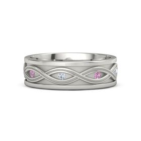 Men's 18K White Gold Ring with Pink Tourmaline & Diamond