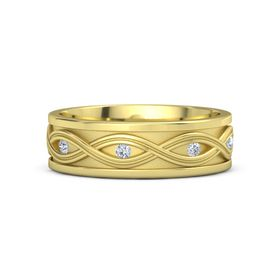 Men's 18K Yellow Gold Ring with Diamond