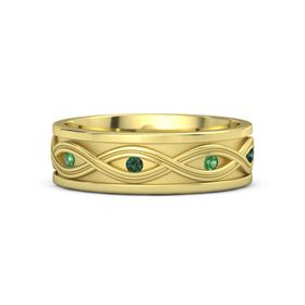 18K Yellow Gold Ring with Emerald and Alexandrite