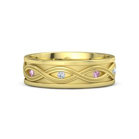 Men's 18K Yellow Gold Ring with Pink Sapphire & Diamond