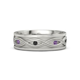 Palladium Ring with Amethyst and Black Diamond