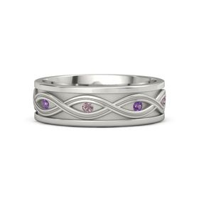 Men's Palladium Ring with Amethyst & Rhodolite Garnet