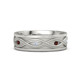 Palladium Ring with Red Garnet and Diamond