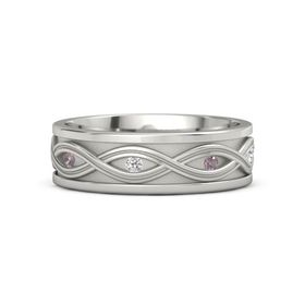 Palladium Ring with Rhodolite Garnet and White Sapphire