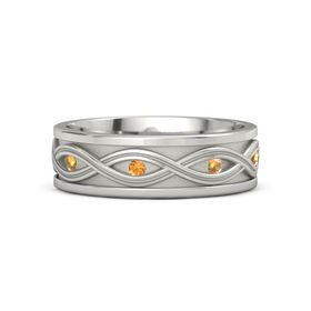 Men's Palladium Ring with Citrine