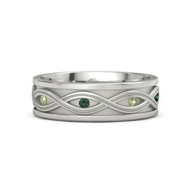 Men's Palladium Ring with Peridot & Alexandrite